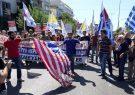 آتش زدن پرچم آمریکا در یونان