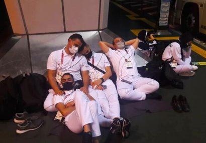 خستگی و گرسنگی کاروان ایران در فرودگاه توکیو براثر بی نظمی عجیب ژاپنی ها